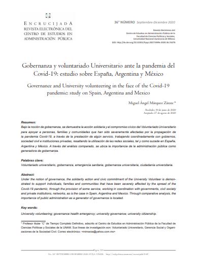 Gobernanza y voluntariado Universitario ante la pandemia del Covid-19: Estudio sobre España, Argentina y México