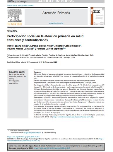 Participación social en la atención primaria en salud: Tensiones y contradicciones