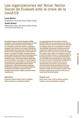 Las organizaciones del Tercer Sector Social de Euskadi ante la crisis de la Covid-19