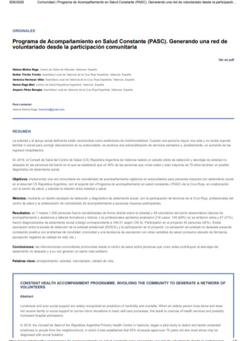Programa de Acompañamiento en Salud Constante (PASC): Generando una red de voluntariado desde la participación comunitaria