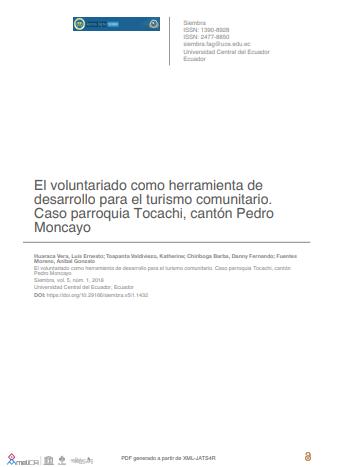 El voluntariado como herramienta de desarrollo para el turismo comunitario. Caso parroquia Tocachi, cantón Pedro Moncayo
