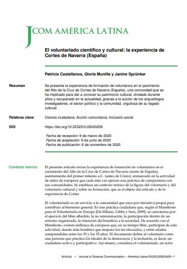 El voluntariado científico y cultural: la experiencia de Cortes de Navarra (España)
