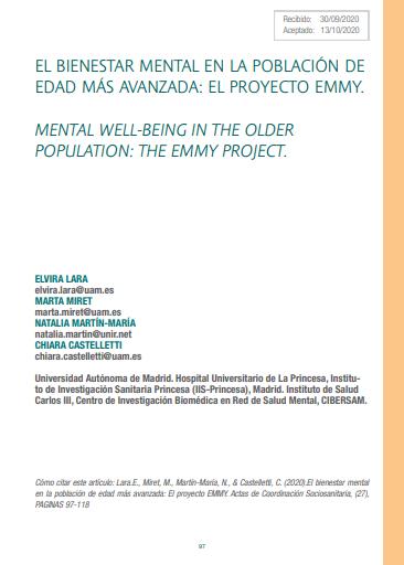 El bienestar mental en la población de edad más avanzada: El proyecto Emmy