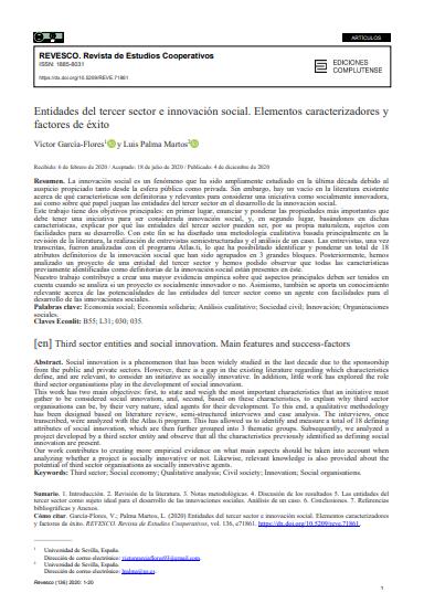 Entidades del tercer sector e innovación social: Elementos caracterizadores y factores de éxito