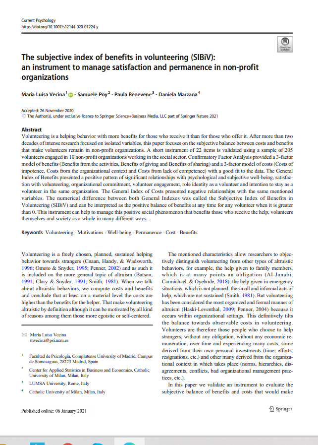 The subjective index of benefits in volunteering (SIBiV): an instrument to manage satisfaction and permanence in non-profit organizations