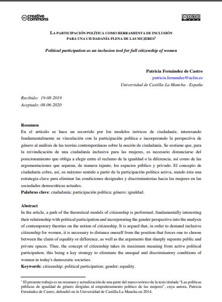Ciudadanía activa y participación política de las mujeres en España