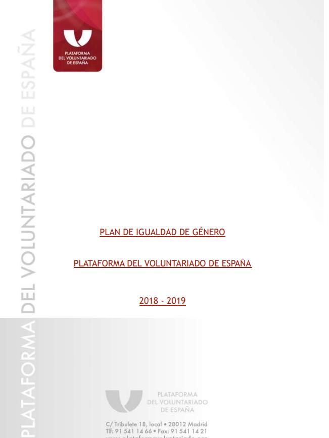 Plan de Igualdad de Género de la PVE (2018-2019)