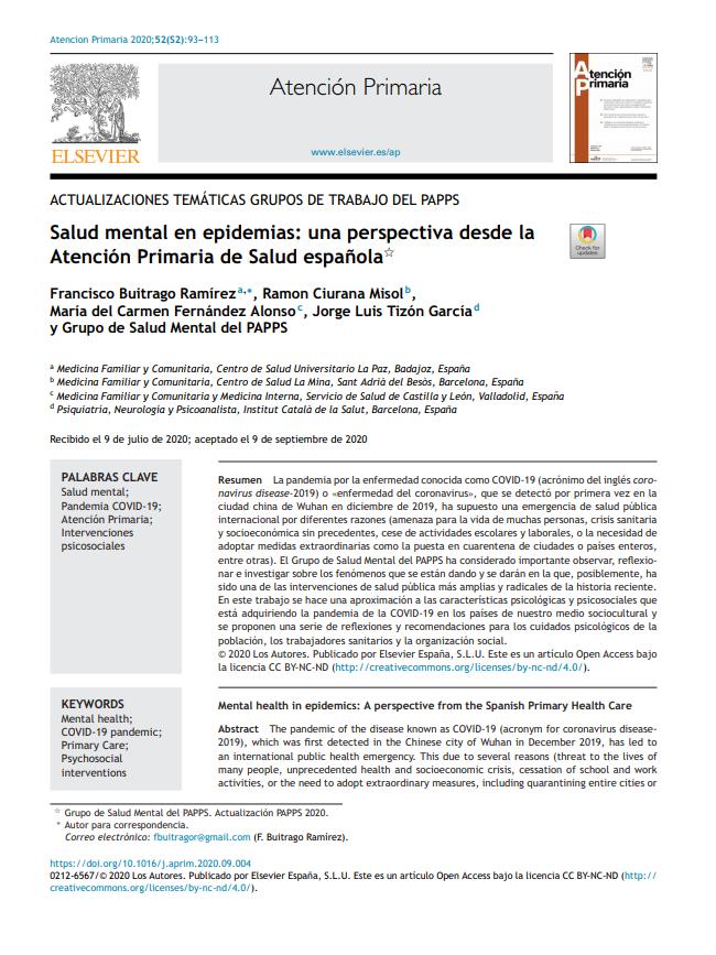 Salud mental en epidemias: una perspectiva desde la Atención Primaria de Salud española
