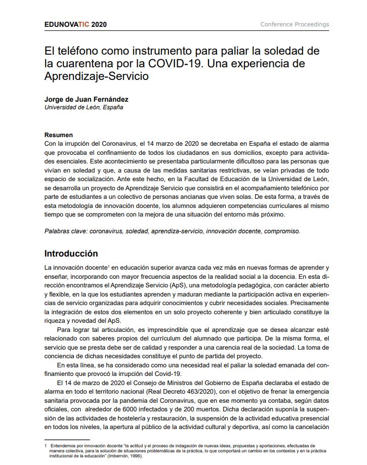 El teléfono como instrumento para paliar la soledad de la cuarentena por la COVID-19: Una experiencia de Aprendizaje-Servicio