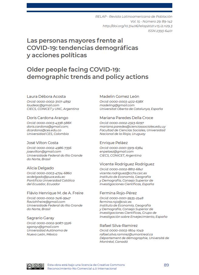 Las personas mayores frente al COVID-19: tendencias demográficas y acciones políticas