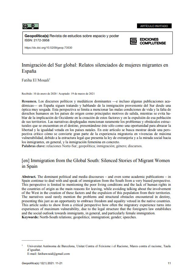 Inmigración del Sur global: Relatos silenciados de mujeres migrantes en España