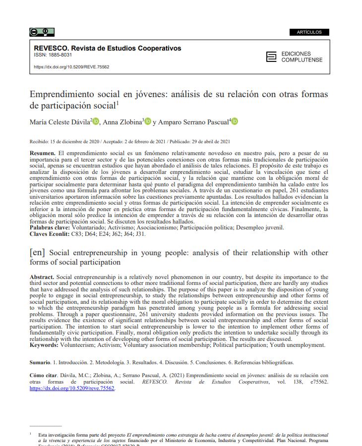Emprendimiento social en jóvenes: análisis de su relación con otras formas de participación social