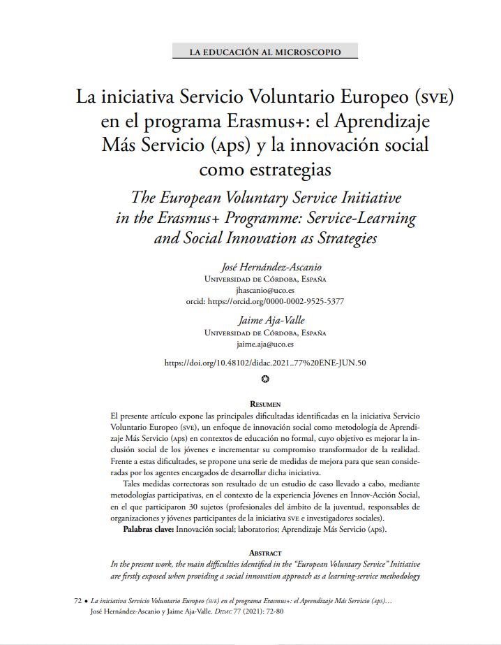 La iniciativa Servicio Voluntario Europeo (SVE) en el programa Erasmus+: el Aprendizaje Más Servicio (APS) y la innovación social como estrategias