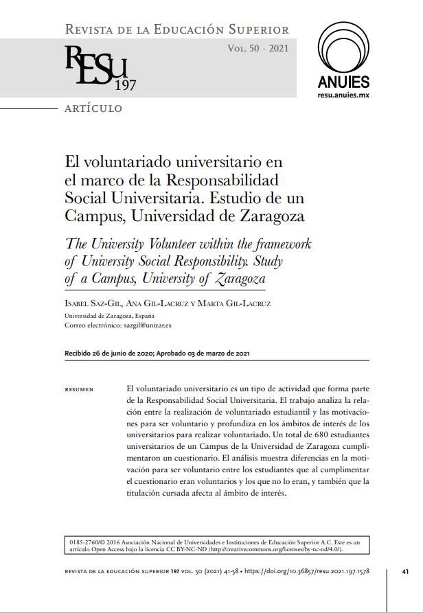 El voluntariado universitario en el marco de la Responsabilidad Social Universitaria: Estudio de un Campus, Universidad de Zaragoza