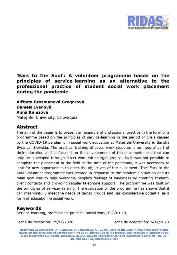 """""""Oídos en el alma"""": Un programa de voluntariado basado en los principios del aprendizaje-servicio como alternativa a la formación práctica de estudiantes de Trabajo Social durante la pandemia"""