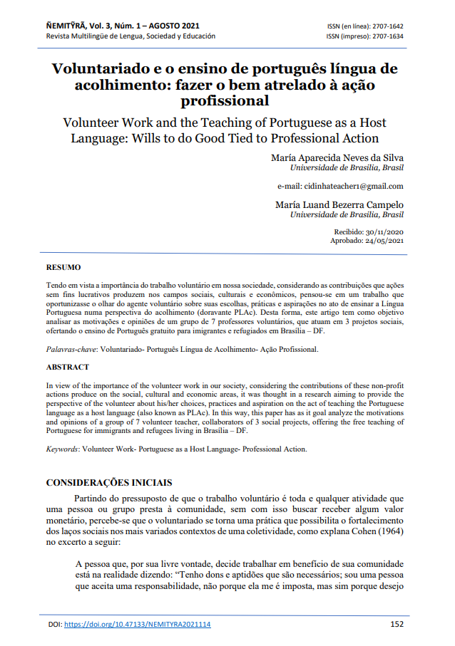 Volunteer Work and the Teaching of Portuguese as a Host Language: Wills to do Good Tied to Professional Action
