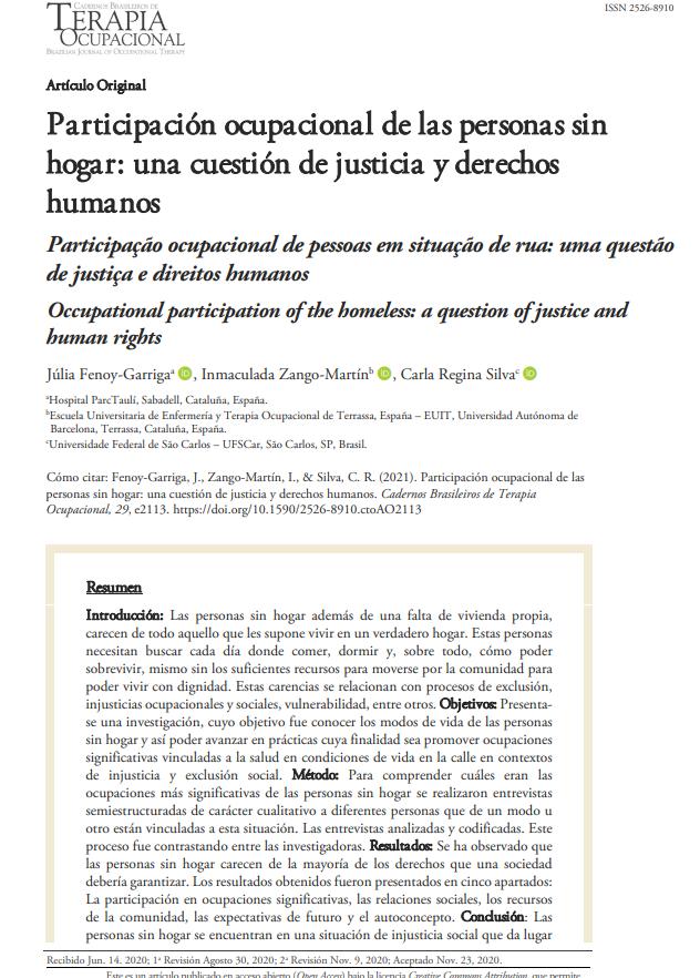 Participación ocupacional de las personas sin hogar: una cuestión de justicia y derechos humanos