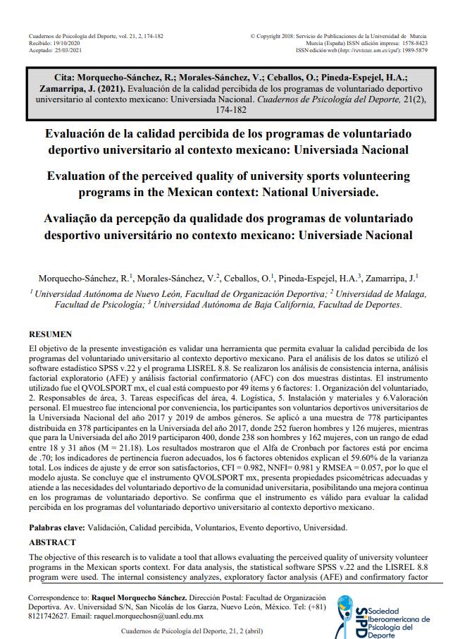 Evaluación de la calidad percibida de los programas de voluntariado deportivo universitario al contexto mexicano: Universiada Nacional