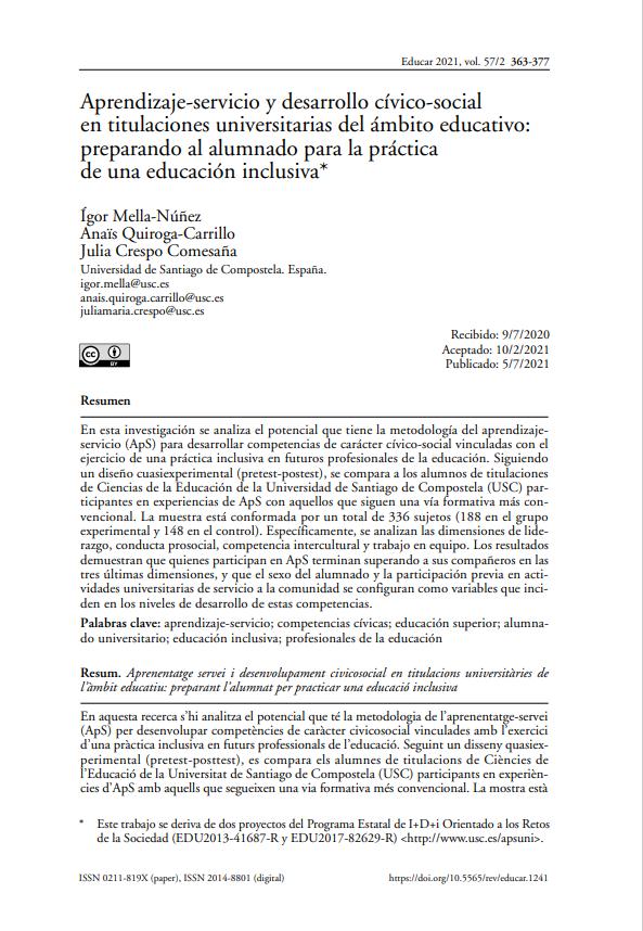 Aprendizaje-servicio y desarrollo cívico-social en titulaciones universitarias del ámbito educativo: preparando al alumnado para la práctica de una educación inclusiva