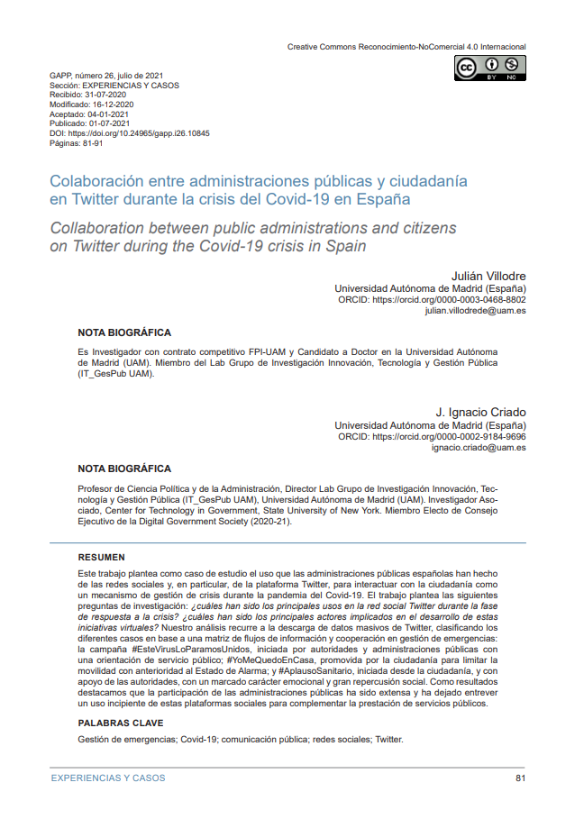 Colaboración entre Administraciones Públicas y ciudadanía en Twitter durante la crisis del Covid-19 en España
