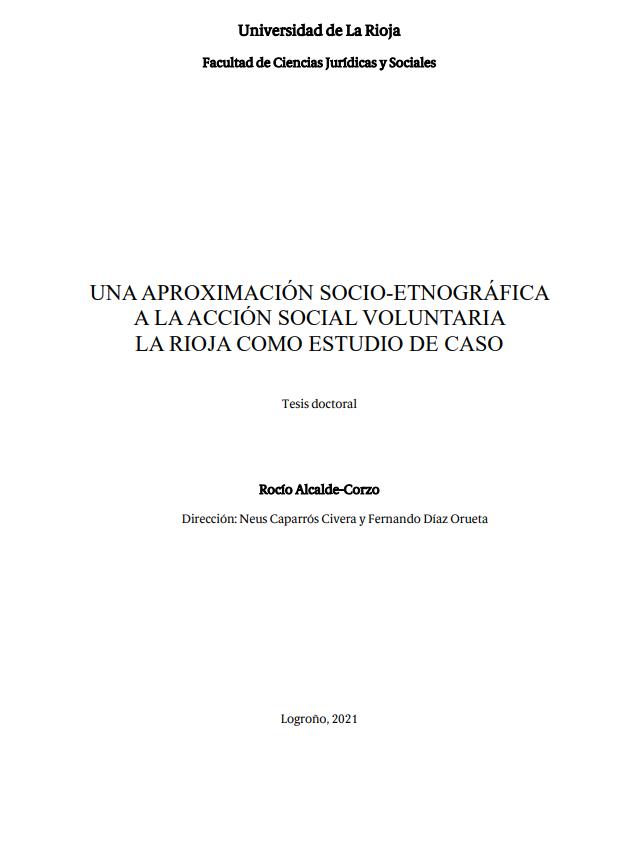 Una aproximación socio etnográfica a la Acción Social Voluntaria: La Rioja como estudio de caso