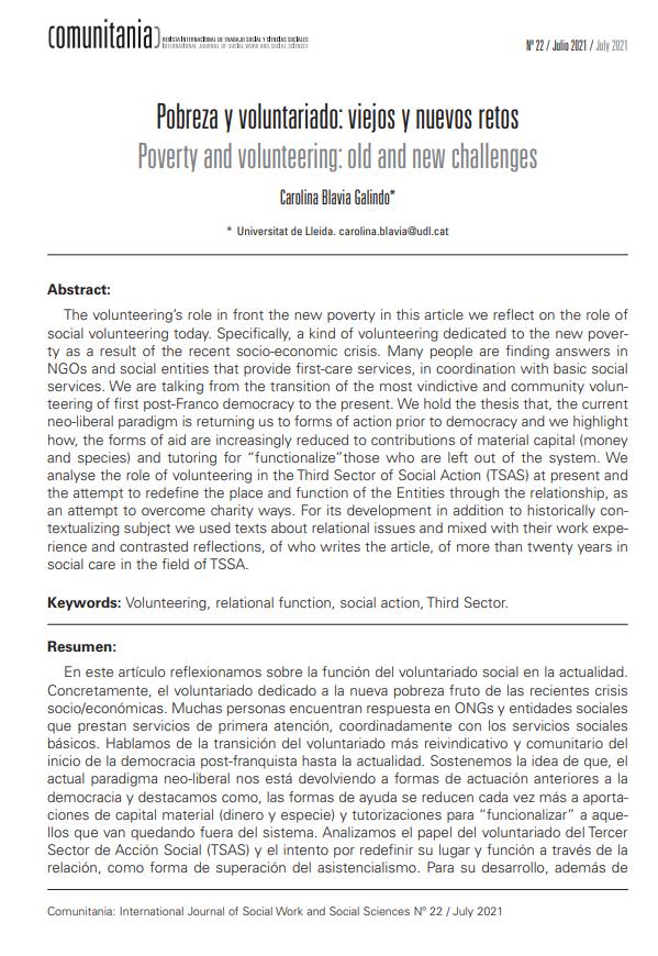 Pobreza y voluntariado: viejos y nuevos retos