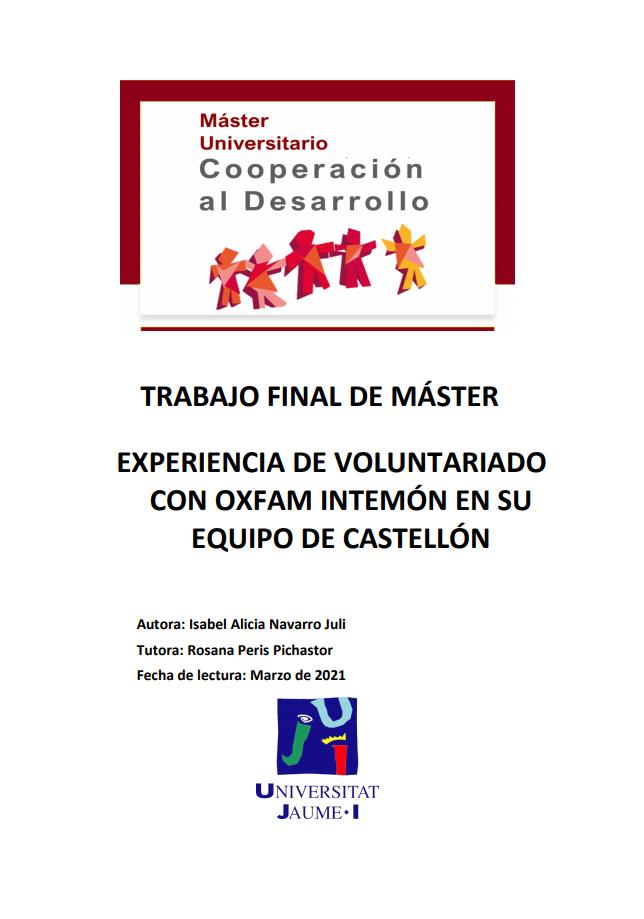 Experiencia de Voluntariado con Oxfam Intermón en su equipo de Castellón