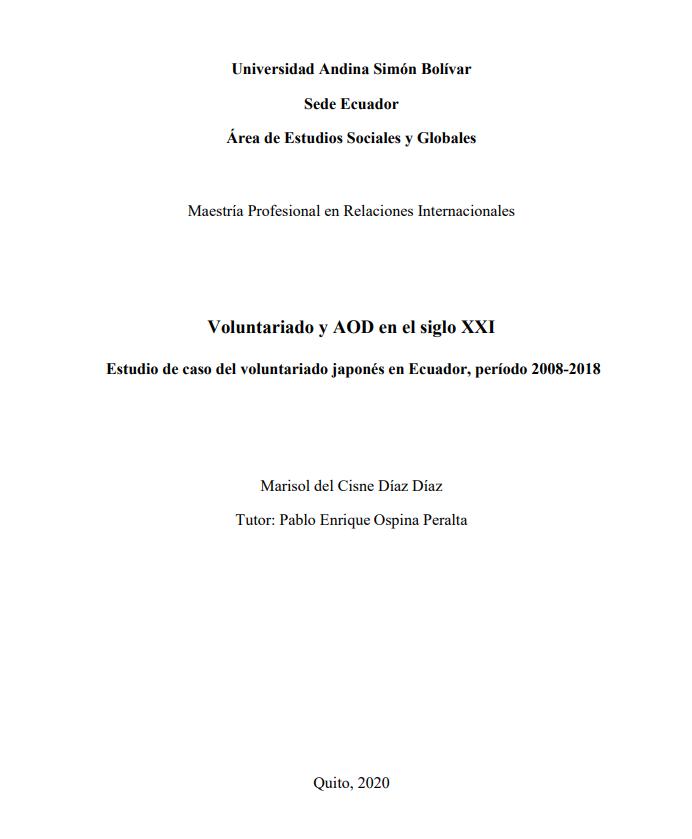 Voluntariado y AOD en el siglo XXI: estudio de caso del voluntariado japonés en Ecuador, período 2008-2018