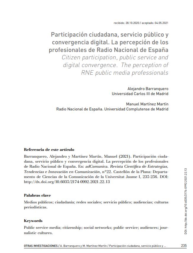 Participación ciudadana, servicio público y convergencia digital: la percepción de los profesionales de Radio Nacional de España